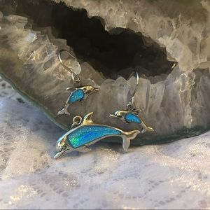 Jewelry - Glitter Dolphin necklace charm and earring set.